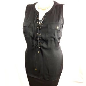 Plus Size Sleeveles Lace Up Top size 1X